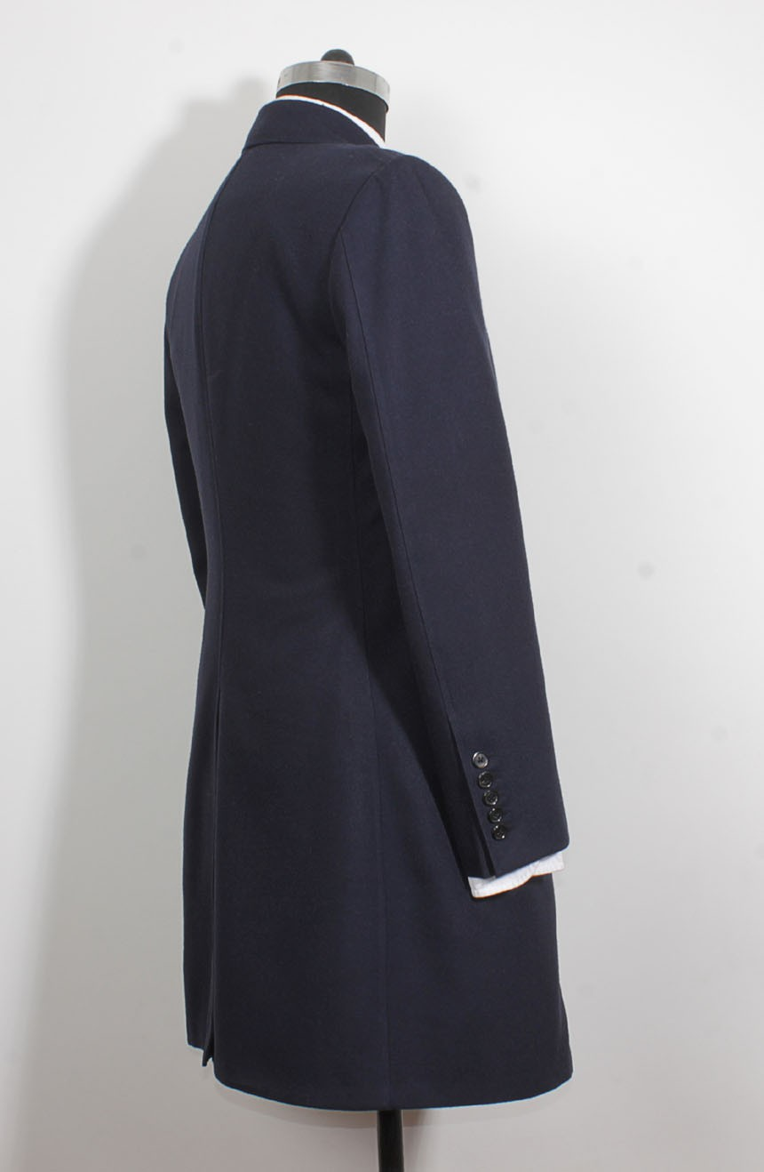 Womens 12th Doctor blue coat side view inspired by Peter Capaldi style.