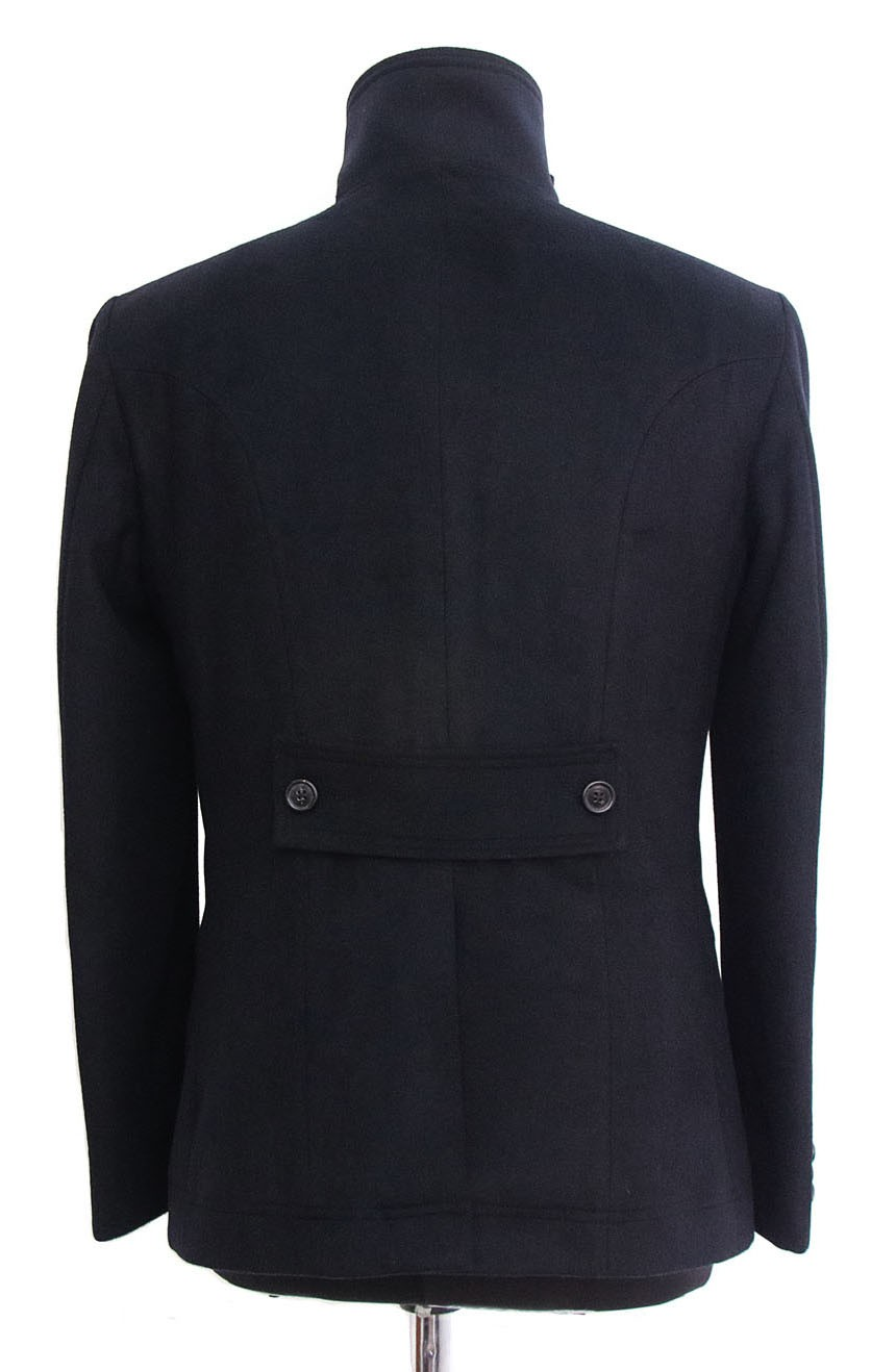 Womens double-breasted short peacoat full-back view in Quantum of Solace style.