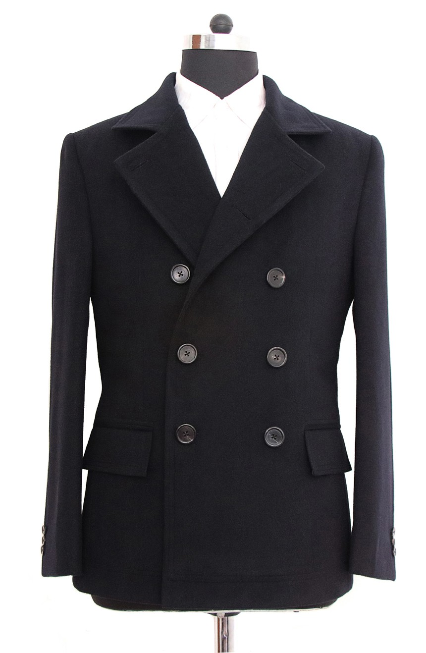 Womens double-breasted short peacoat lapel view in Quantum of Solace style.