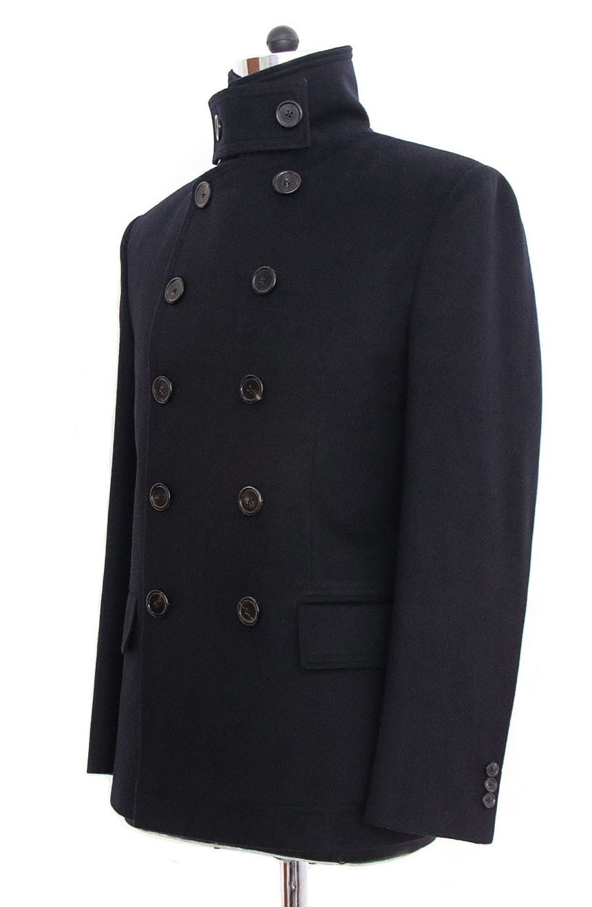 Womens double-breasted short peacoat side view in Quantum of Solace style.