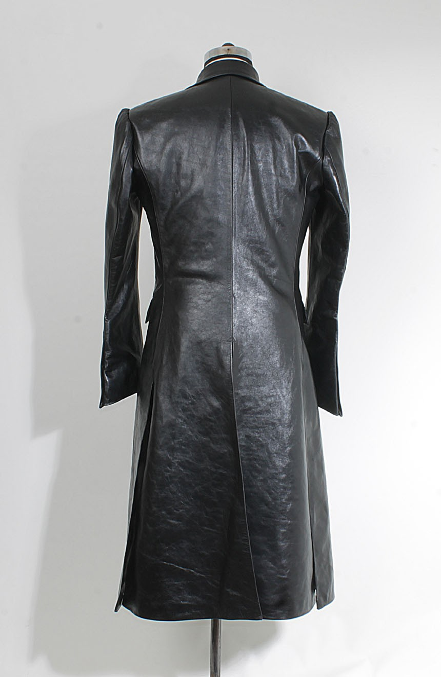 Women's leather car coat full back view to cosplay Joker from The Dark Knight.