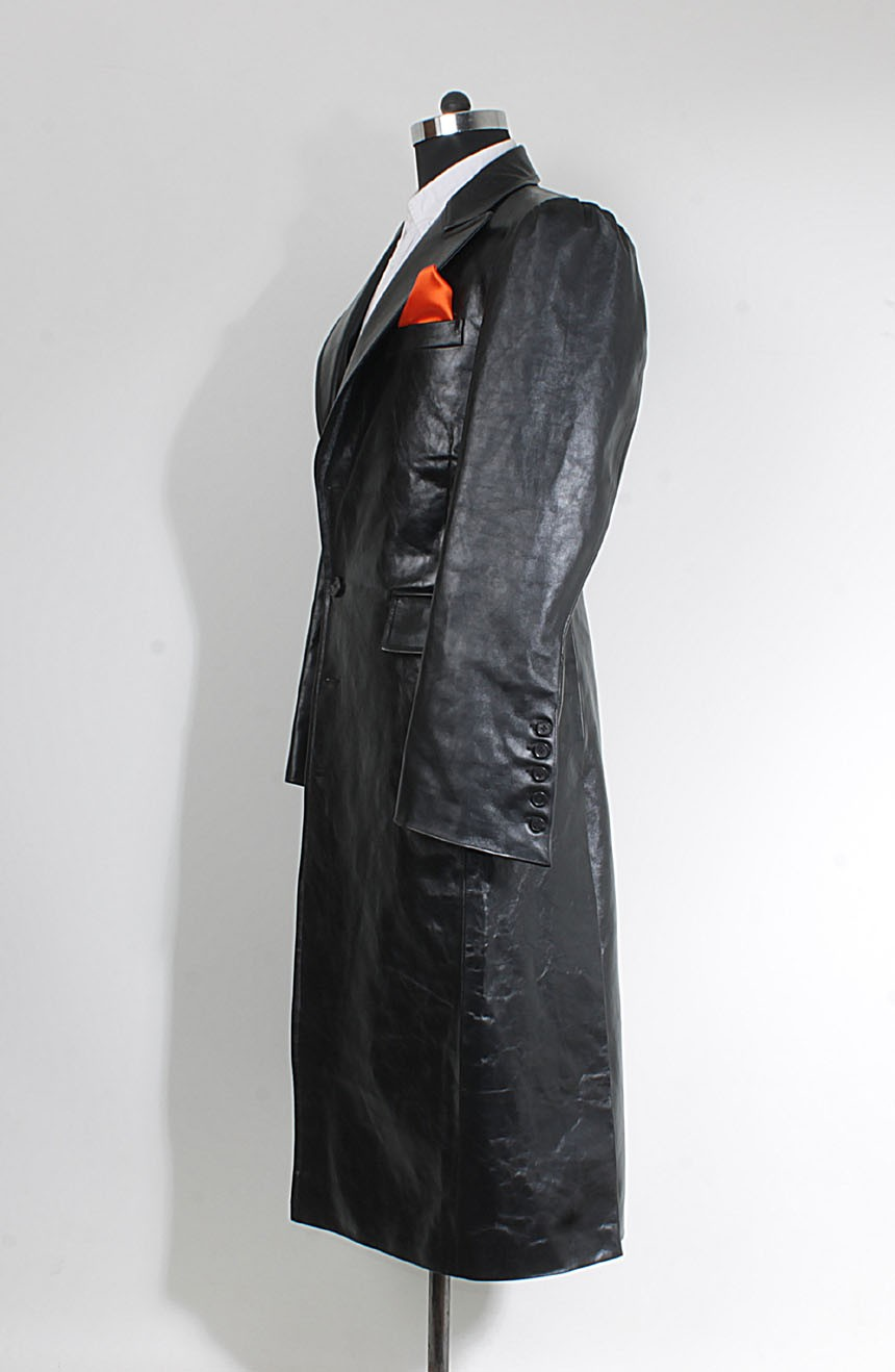 Women's leather car coat sleeves view to cosplay Joker from The Dark Knight.
