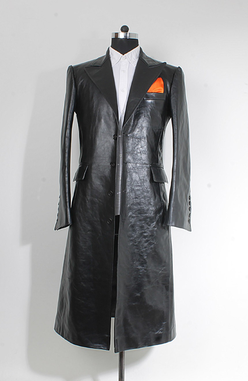 Women's leather car coat to cosplay Joker from The Dark Knight.
