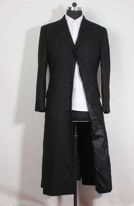 Womens long black trench coat in wool inspired by The Matrix Revolutions style.