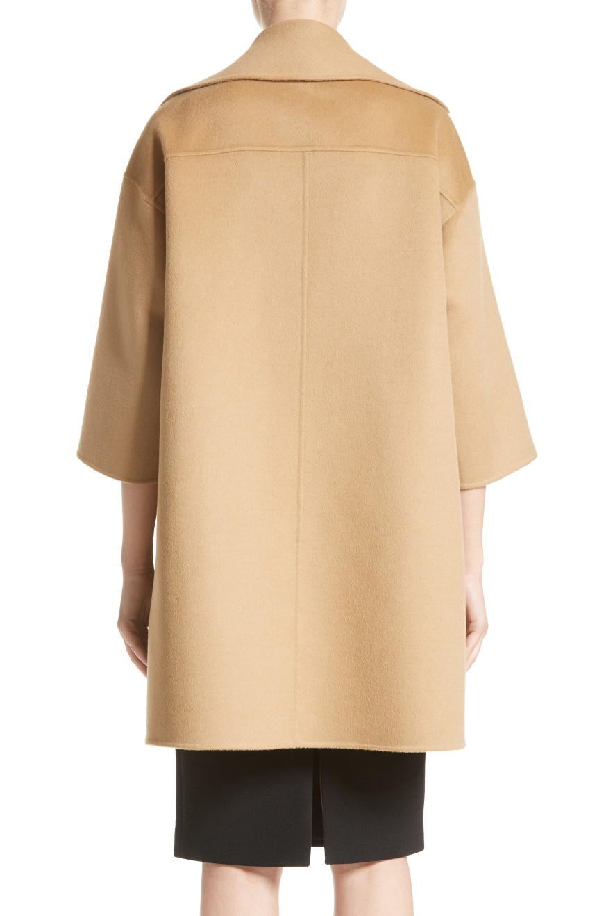 Womens long dress coat oversized with drop shoulders full back view.