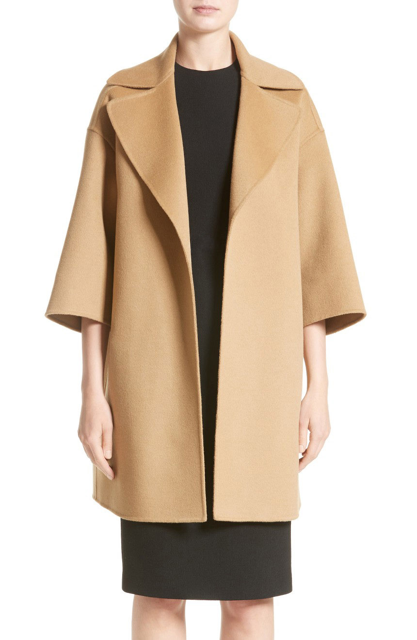 Womens long dress coat oversized with drop shoulders.