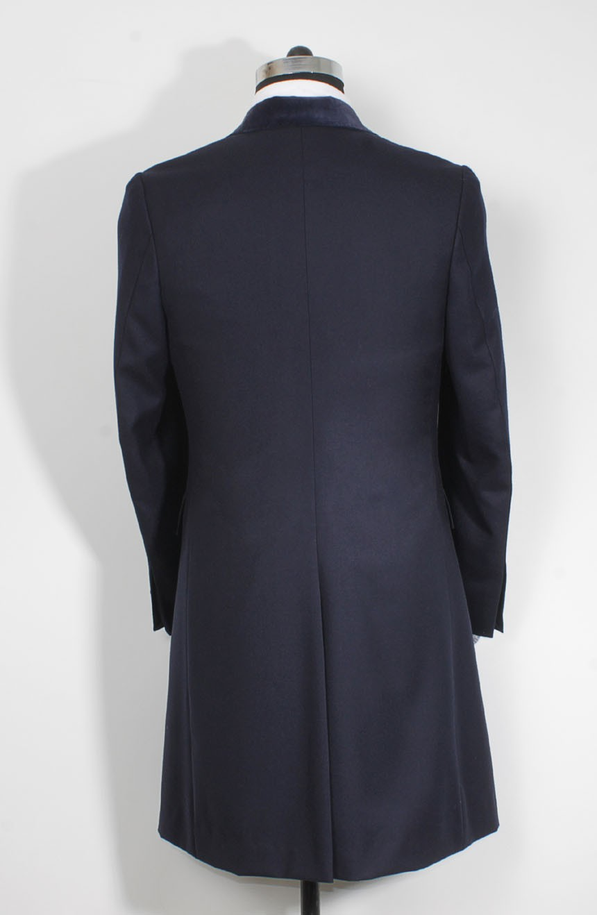 Womens navy Crombie coat replica from Spectre in 007 James Bond style a full back view.