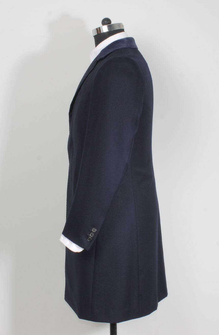 Womens navy Crombie coat replica from Spectre in 007 James Bond style a sleeve buttons view.