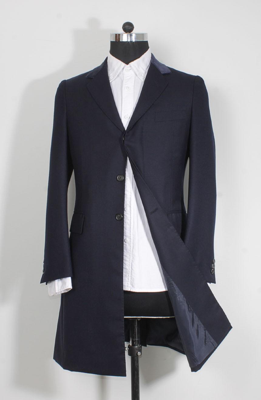 Womens navy Crombie coat replica from Spectre in 007 James Bond style.