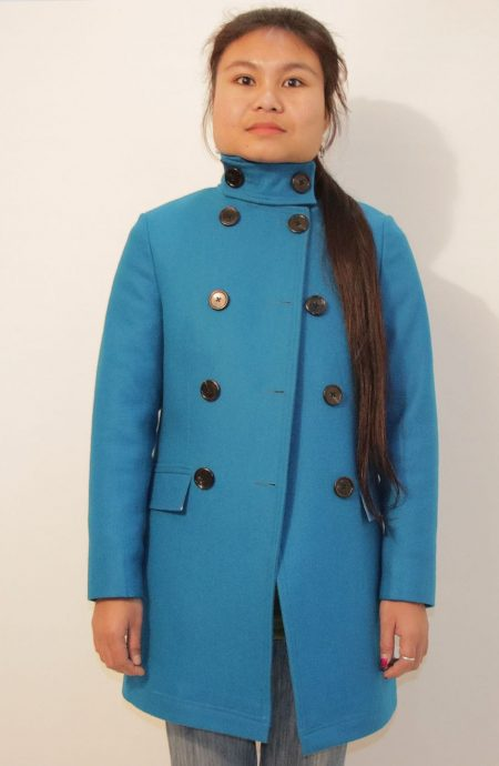 Womens peacoat wool double breasted custom made in turquoise.