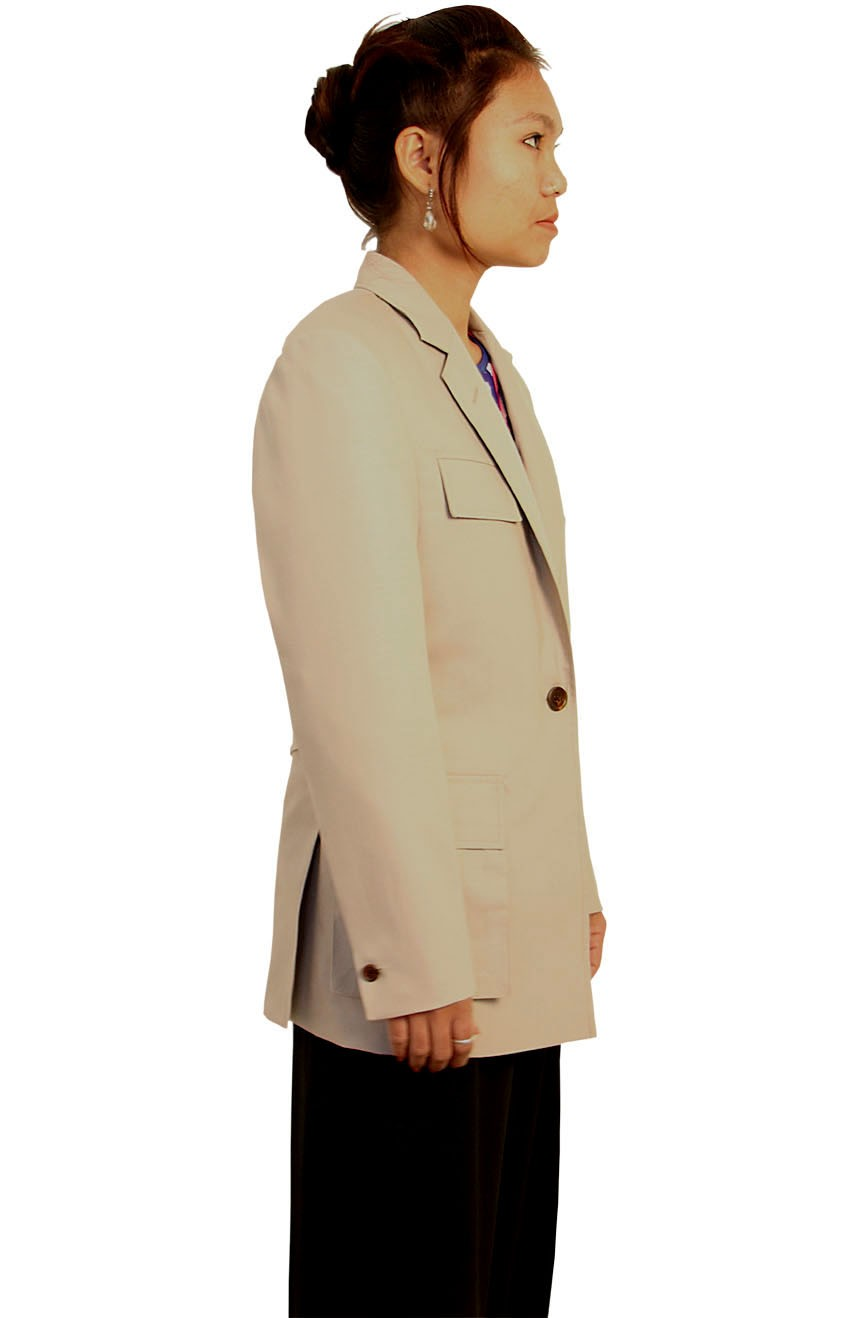 Womens stone utility jacket inspired by 7th Doctor Who side views.