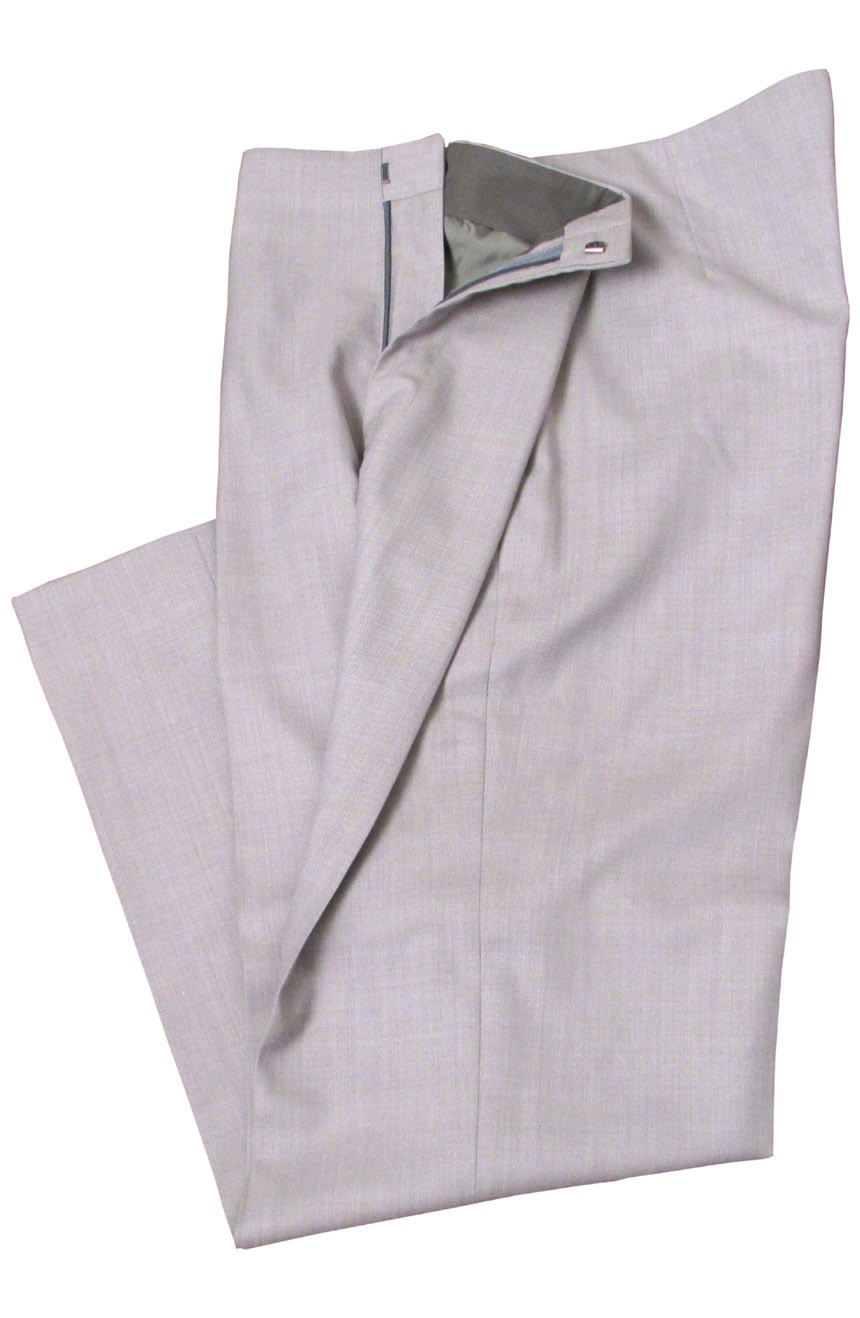 Brad Pitt grey suit pants in Oceans 11. A full front view.