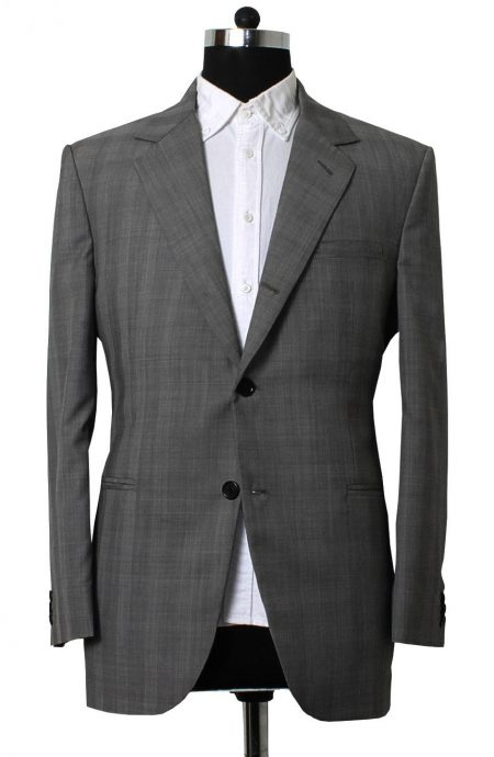 Cary Grant North By Northwest suit in grey glen plaid. A full front view.