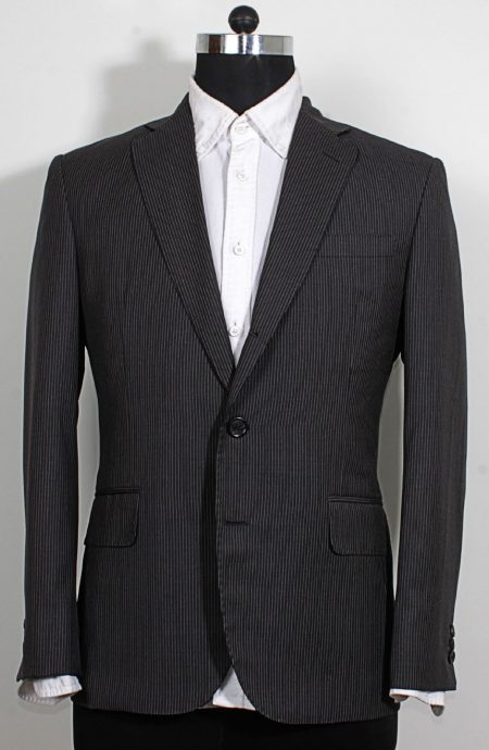 Charcoal grey pinstripe suit to cosplay James Bond from Skyfall, a full front view.