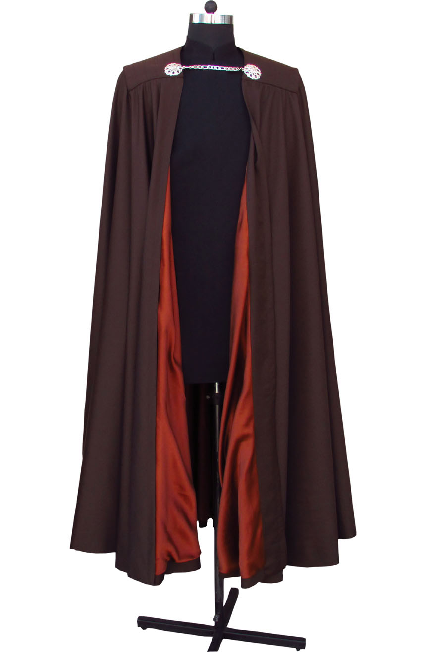 Count Dooku cape from Star Wars. A full front view with satin silk lined interior.