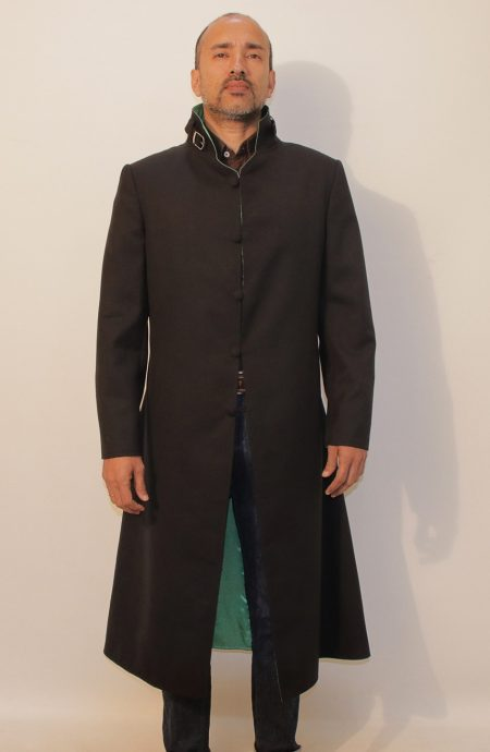 Darker Than Black Hei cosplay trench coat. Buttoned-up front view.