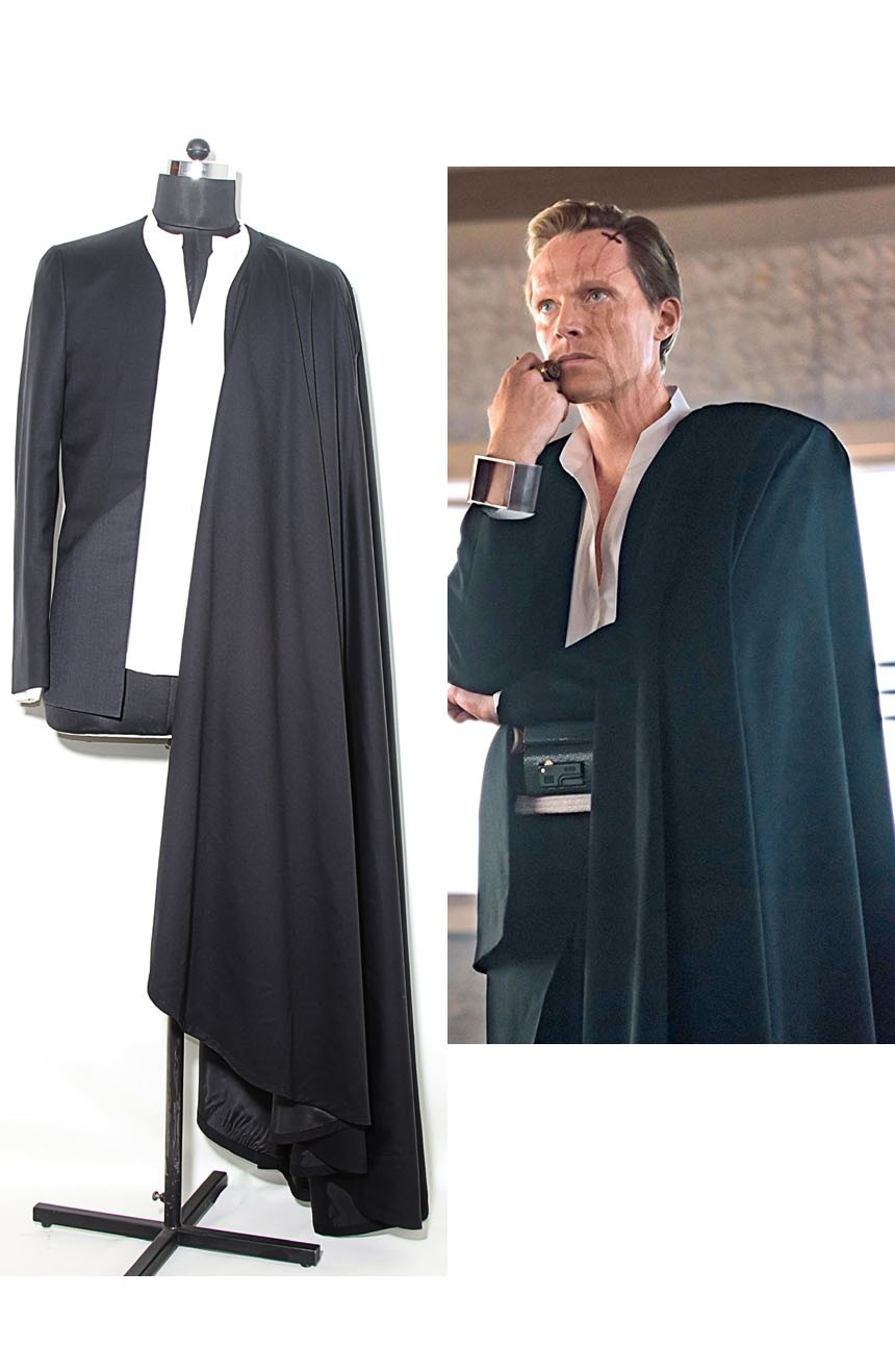 Dryden Vos Costume from Solo: A Star Wars Story. A side-by-side comparison view.