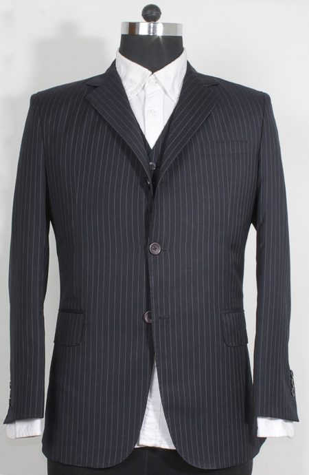James Bond navy pinstripe 3-piece suit from Casino Royal final scene. Suit jacket full front view.