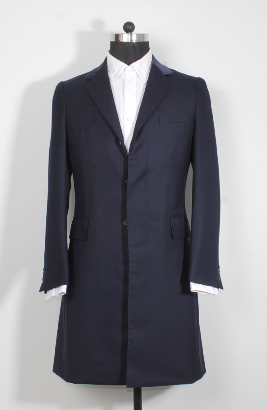 James Bond coat in navy blue from Spectre, a full front view.