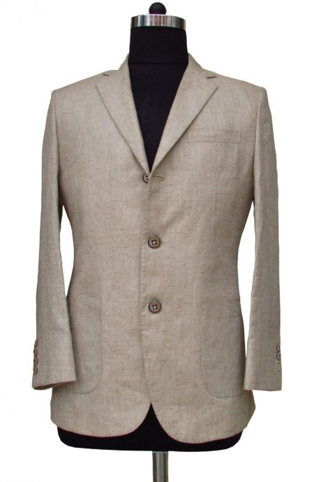 James Bond linen suit in herringbone from The World Is Not Enough, a full front view.