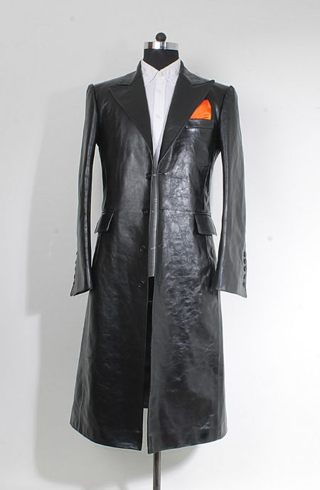 Joker trench coat in black leather inspired from The Dark Knight. A full front view.