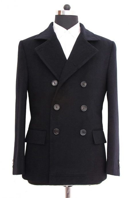 Mens fitted peacoat black inspired by Quantum Of Solace ending scene. A full front view.