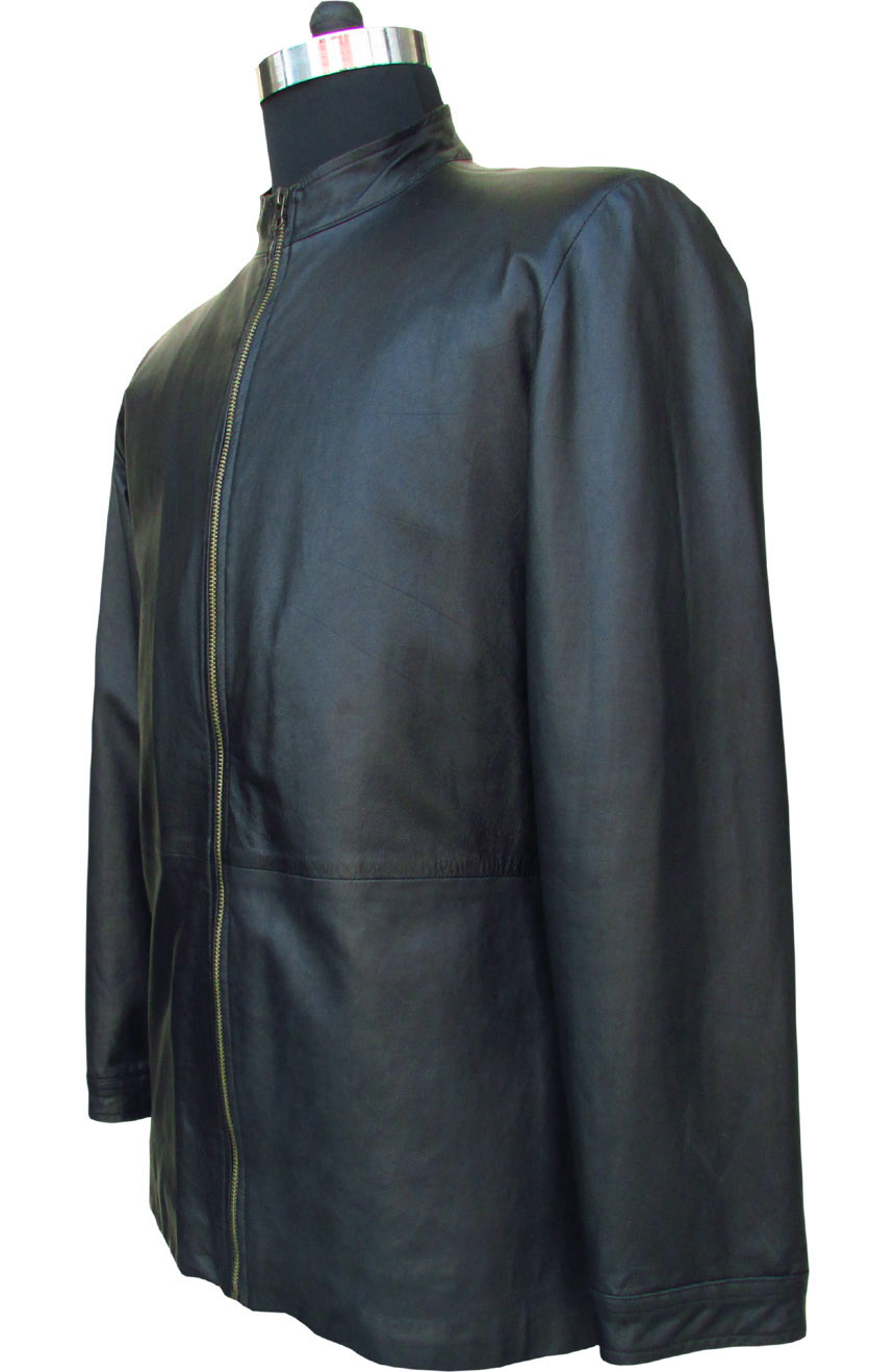 Tom Cruise leather jacket replica from Minority Report. A full side view.