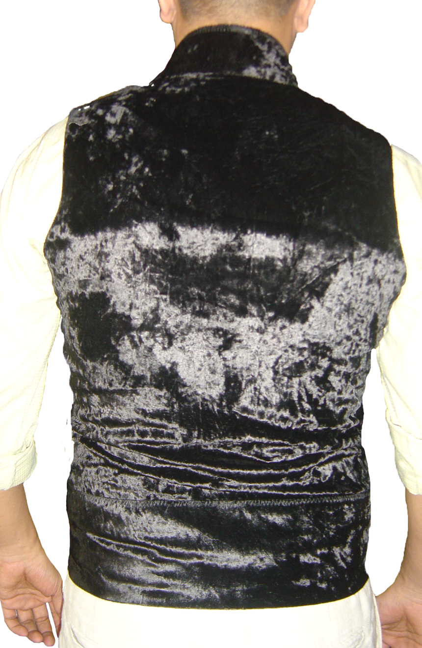Sweeney Todd vest hand-tailored from crushed velvet black. A full-back view.