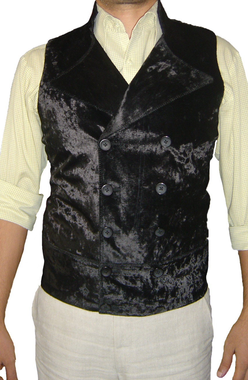 Sweeney Todd vest hand-tailored from crushed velvet black. A full front view.