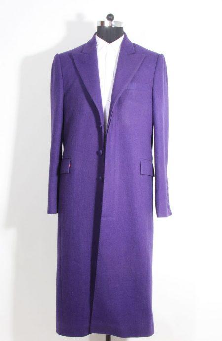 Heath Ledger inspired The Dark Knight purple Joker trench coat. A full front view.