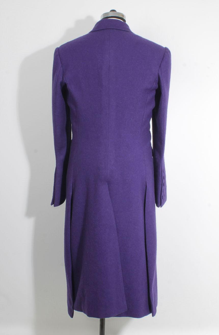 Heath Ledger inspired The Dark Knight purple Joker trench coat. A full-back view.
