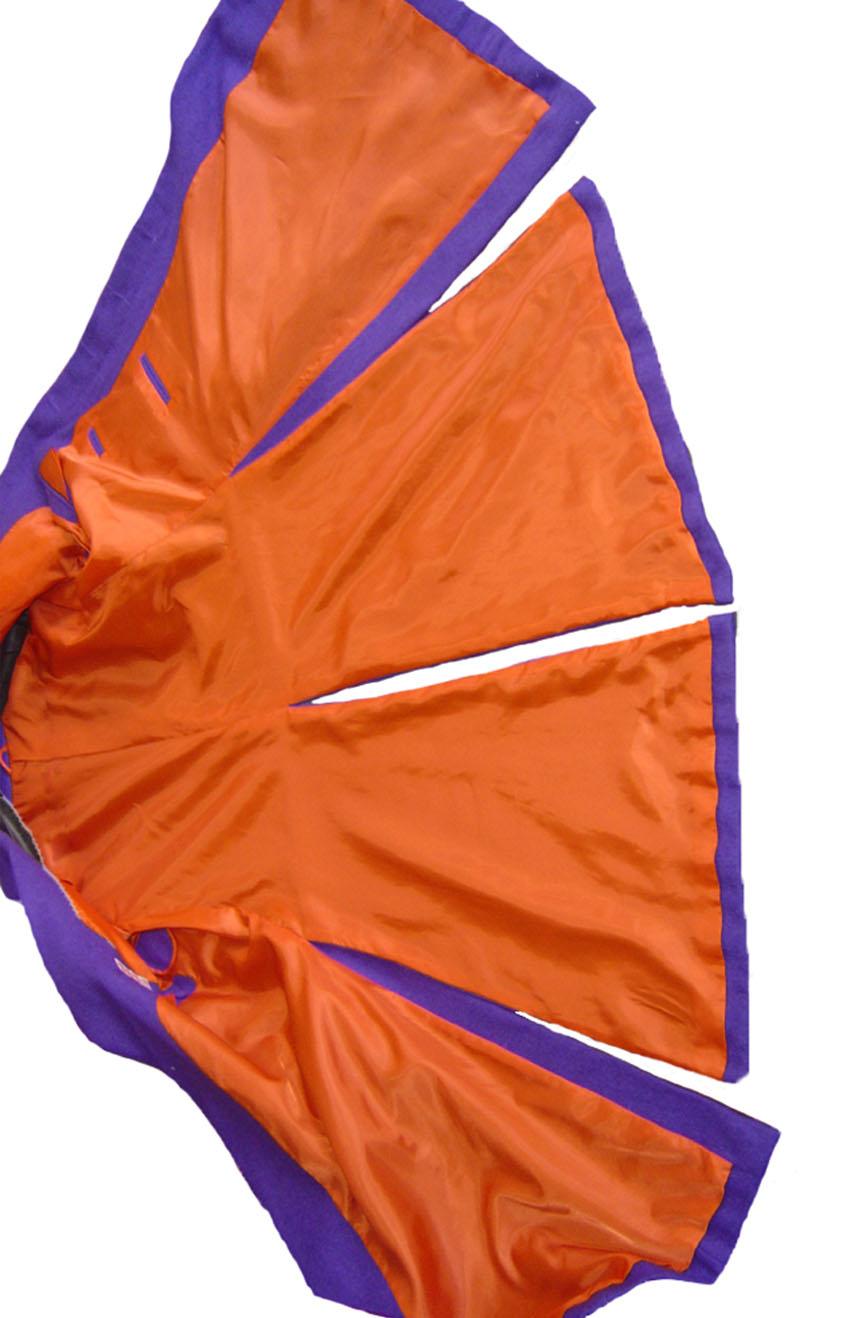 Heath Ledger inspired The Dark Knight purple Joker trench coat. Complete coat's interior view.