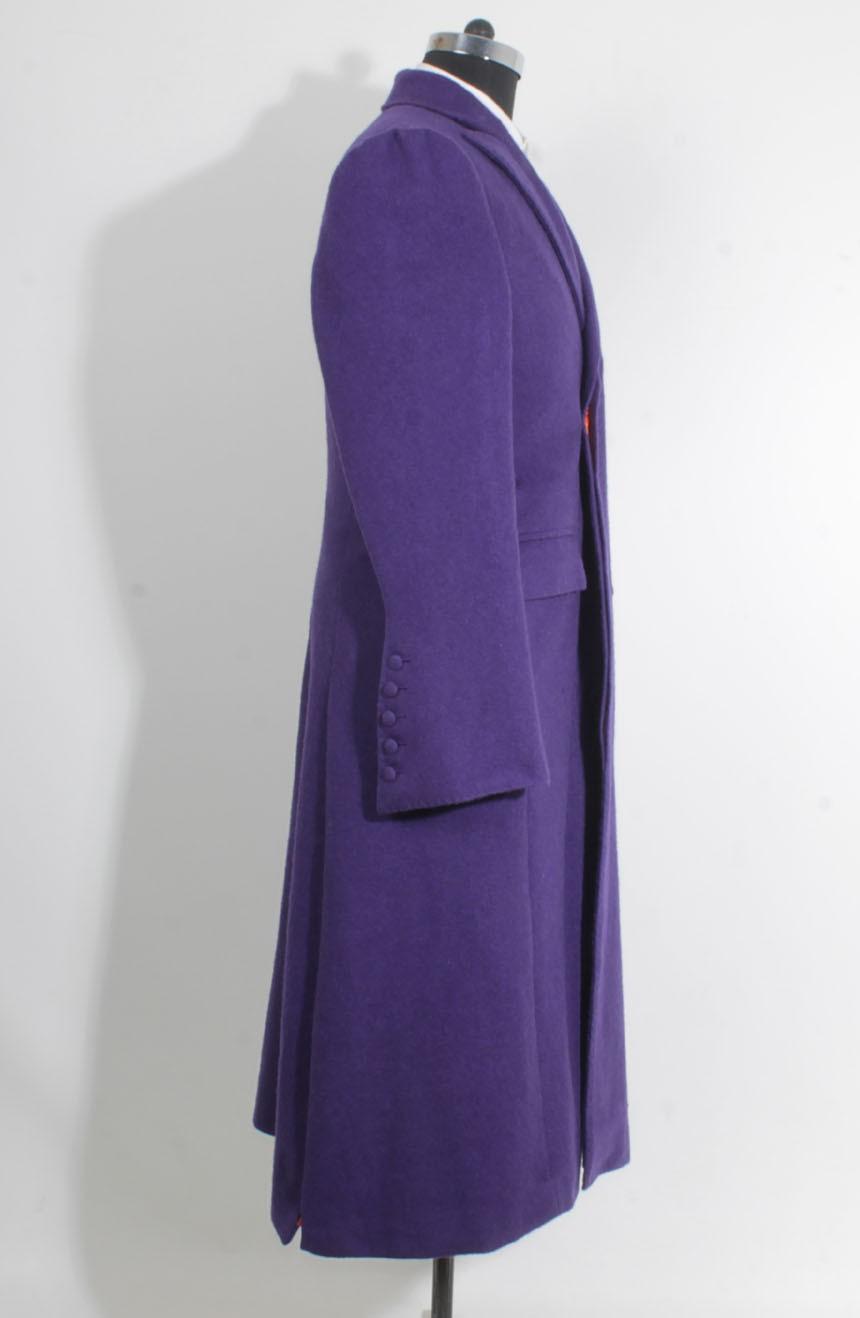 Heath Ledger inspired The Dark Knight purple Joker trench coat. A full side view.
