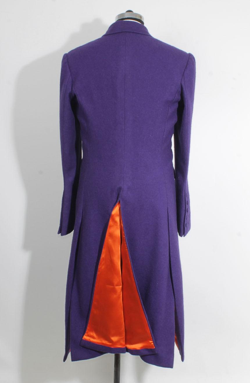 Heath Ledger inspired The Dark Knight purple Joker trench coat. Coat's orange lining view.