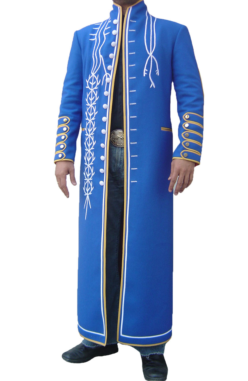 100% screen accurate Vergil coat replica from Devil May Cry 3. A full front view.