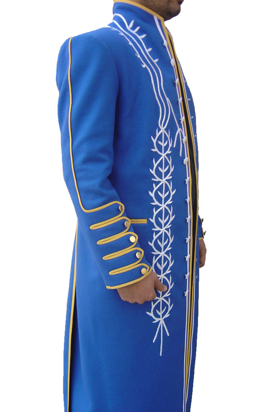 100% screen accurate Vergil coat replica from Devil May Cry 3. A full side view.