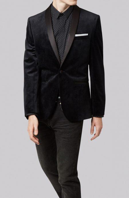 Black velvet shawl collar tuxedo jacket full front view.