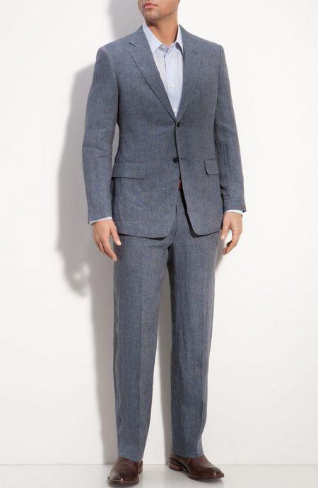 Blue linen suits for men lightweight enough for summer.