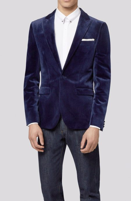 Blue velvet dinner jacket.