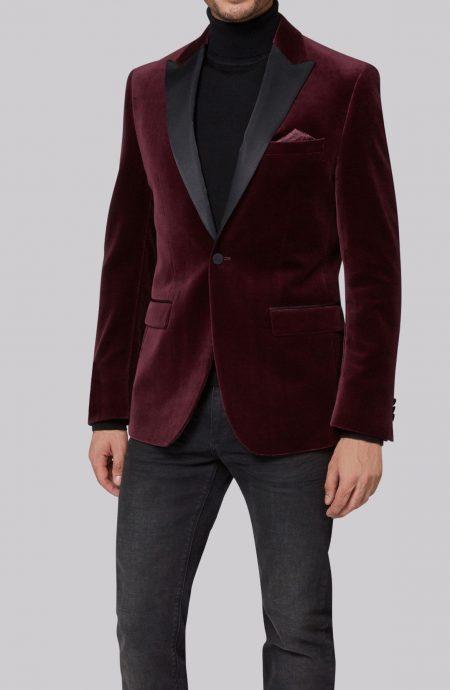 Burgundy velvet suit jacket slim fit with black silk satin peak lapels.