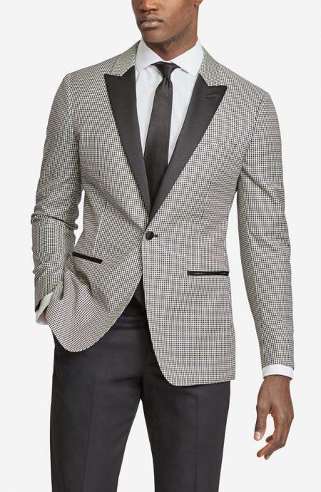 Custom dinner jacket in houndstooth wool black and white.