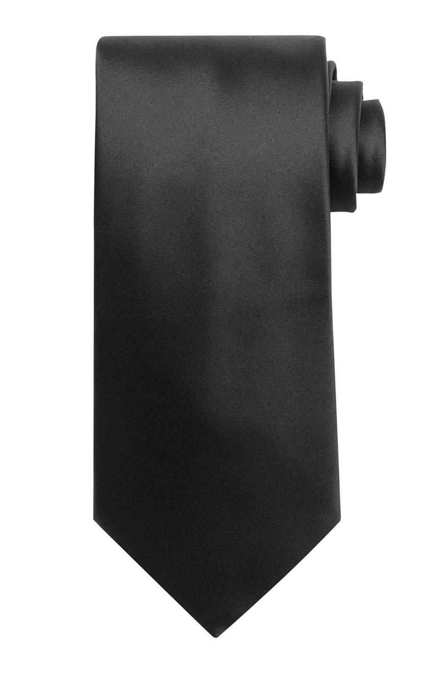 Mens handmade satin silk necktie in solid black color.