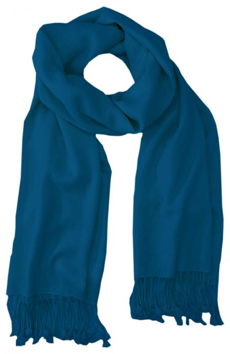 Petrol Blue cashmere pashmina and silk blend full-size shawl in single-ply twill weave with 3 inches tassel.