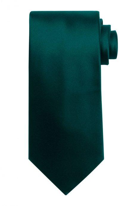 Mens handmade satin silk necktie in solid emerald color.