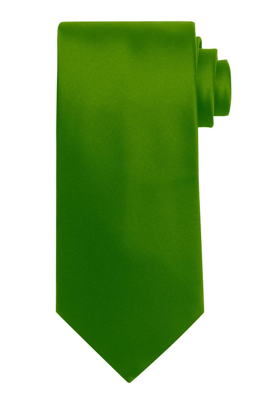 Mens handmade satin silk necktie in solid green color.