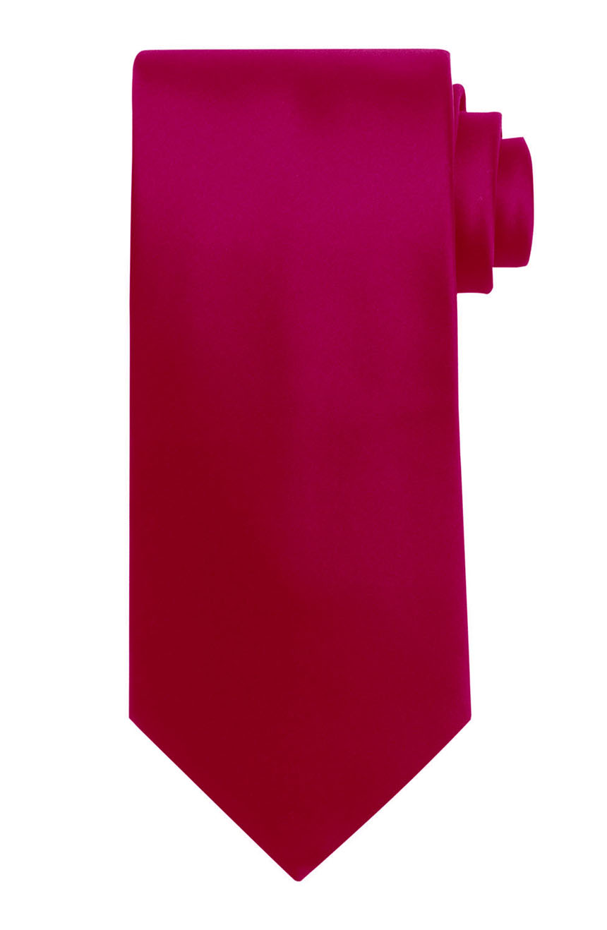Mens handmade satin silk necktie in solid hot pink color.