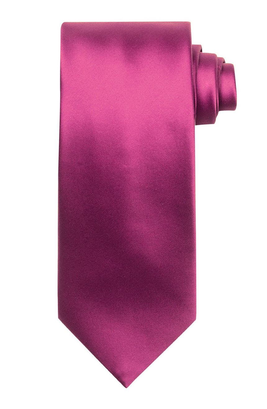 Mens handmade satin silk necktie in solid magenta color.