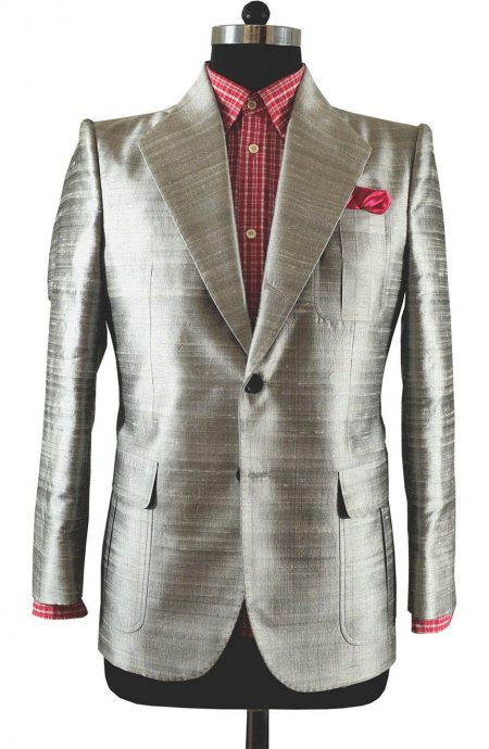Mens fashion suit tailored fit single breasted in pure silver silk, front view.