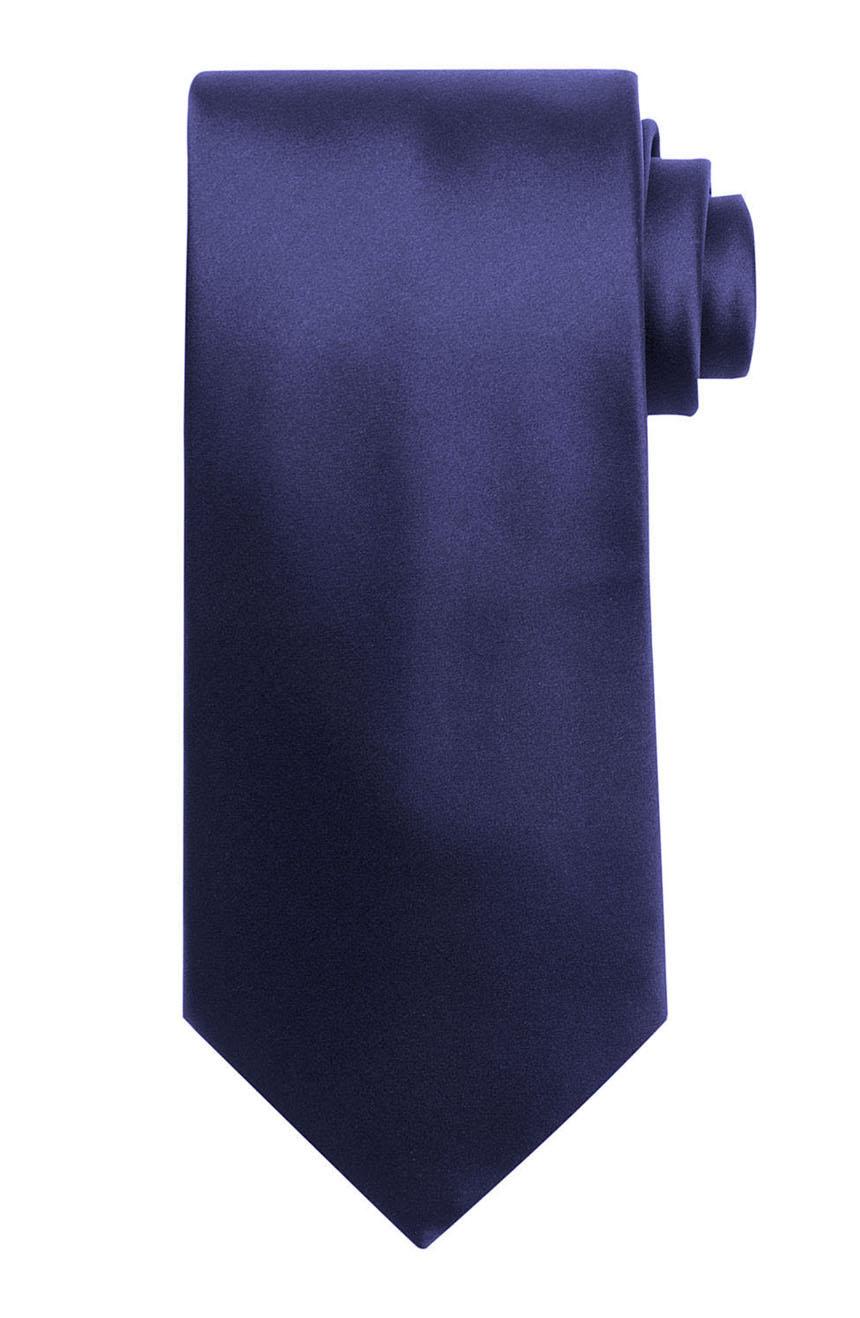 Mens handmade satin silk necktie in solid navy color.