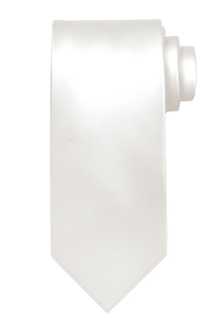 Mens handmade satin silk necktie in solid off-white color.